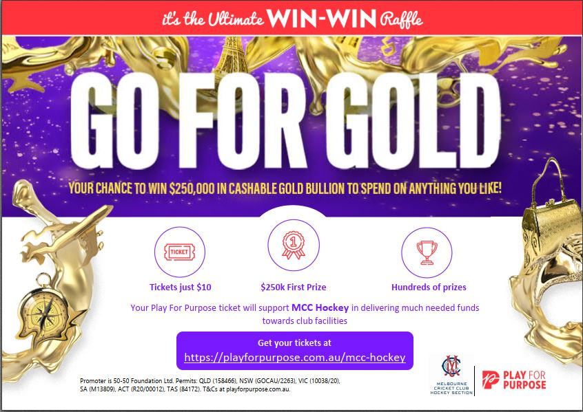 Raffle supporting our club – WIN GOLD! EARLYBIRD DRAW 21 JUNE
